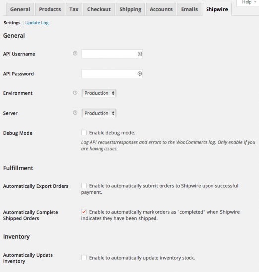 WooCommerce Shipwire Admin Settings