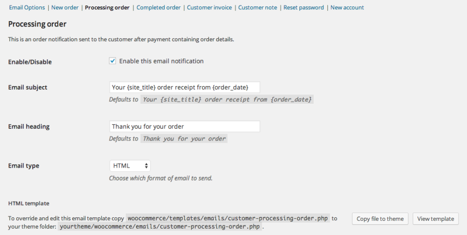 Processing Orders Email Settings