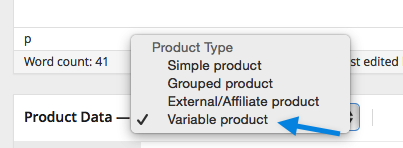 Selecting variable product WooCommerce