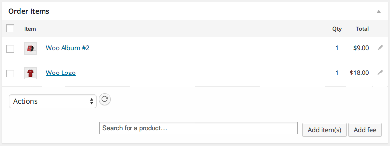 WooCommerce Order Items