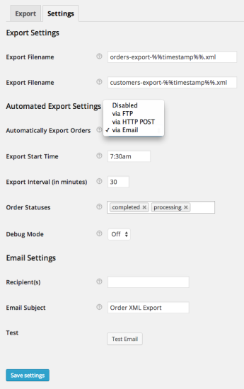 WooCommerce Customer / Order XML Export Settings