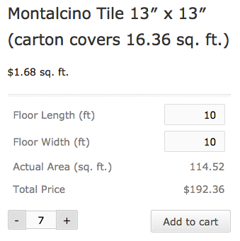 Selling a box of tile with the quantity calculator