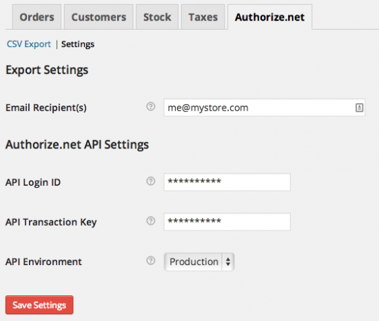 WooCommerce Authorize.net Reporting Settings