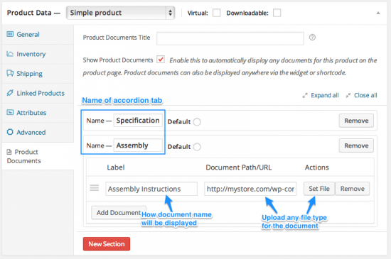 WooCommerce Product Documents Tab and Document Addition
