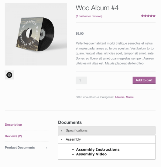 WooCommerce product documents tab manager