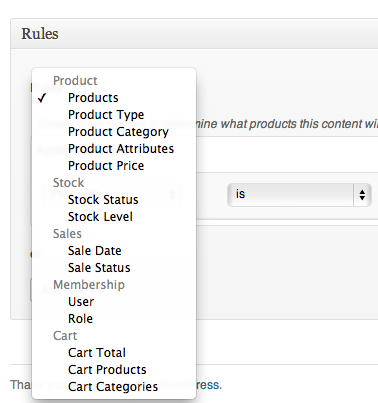Overview of the easy to use rule selector