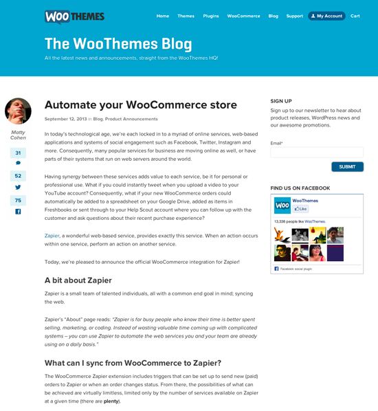 WooThemes Announcement Post