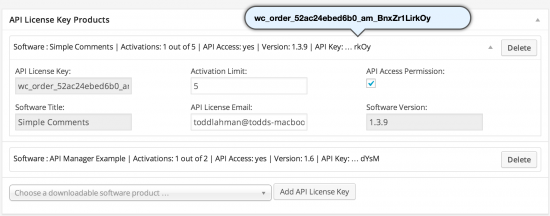 API License Key Products