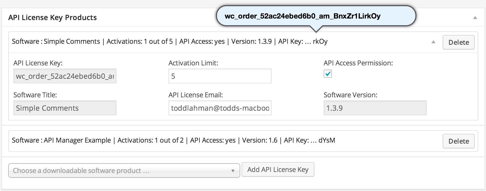 WooCommerce API Manager - Software License Keys