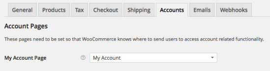 WooCommerce > Accounts > Account Pages