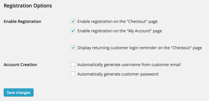 WooCommerce > Accounts > Registration Options