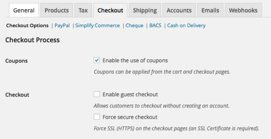 WooCommerce > Checkout > Checkout Options