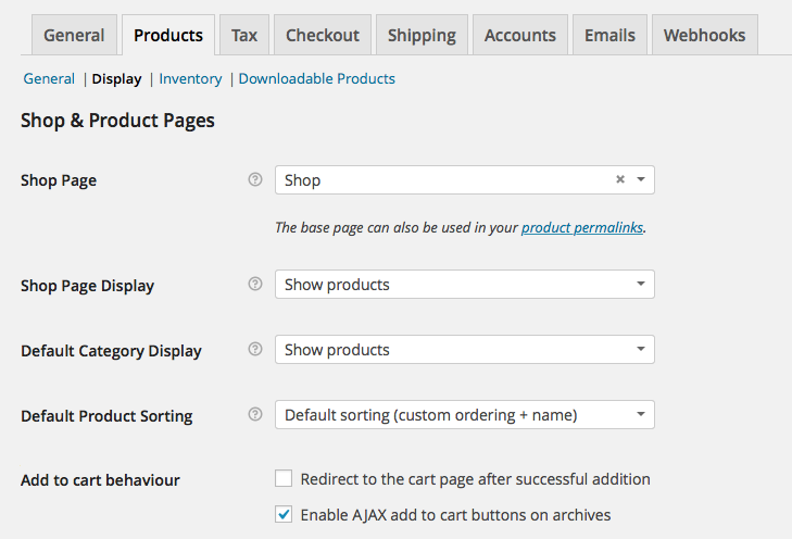 WooCommerce Products > Display