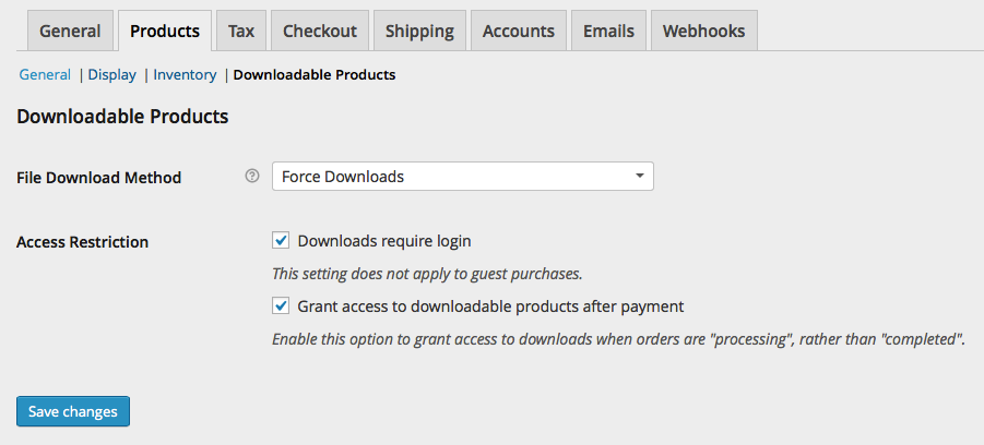 WooCommerce Products > Downloadable Products