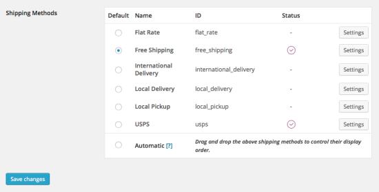 WooCommerce > Shipping > Shipping Methods