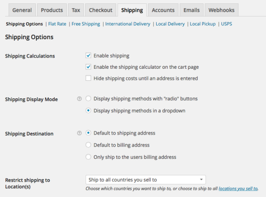 WooCommerce > Shipping > Shipping Options