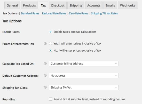 WooCommerce Tax > Tax Options