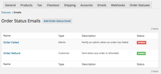WooCommerce Order Status Manager email list