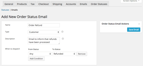 WooCommerce Order Status Manager new email