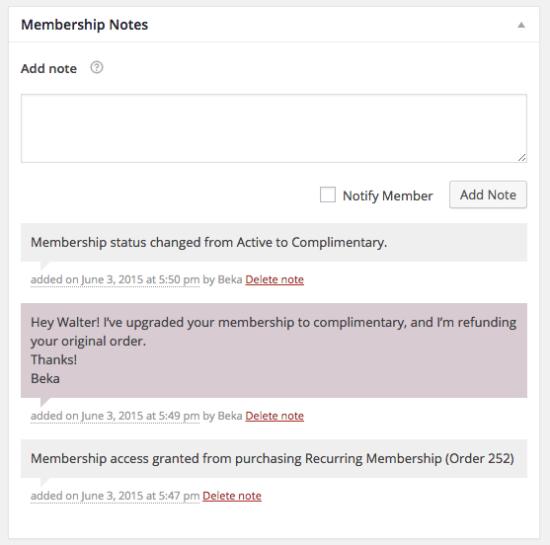 WooCommerce Memberships membership notes