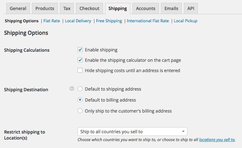 WooCommerce Shipping Settings