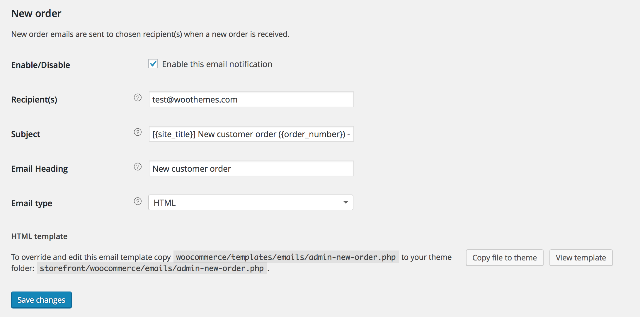 woocommerce email options